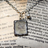 Vintage Postage Stamp Pearl Silver Necklace