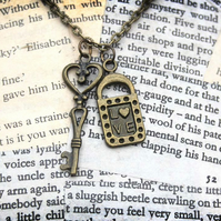 Padlock Lock and Key Charm Love Necklace