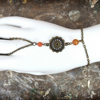 Flower Charm Orange Bead Slave Bracelet