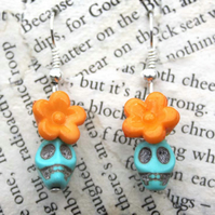 Sugar Skull Turquoise Orange Flower Hook Dangle Earrings