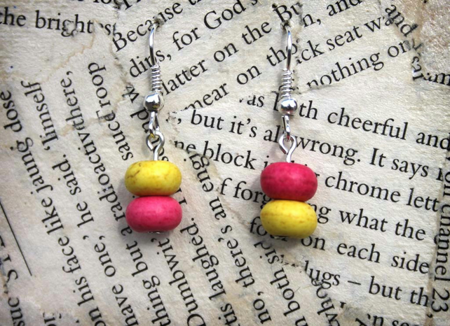 Asymmetric Pink and Yellow Bead Dangle Hook Earrings