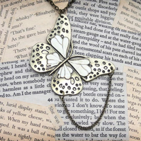 Gold Enamel Butterfly Charm Necklace