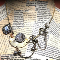Steampunk Statement Watch Part Charm Gold Necklace