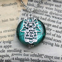Hamsa Hand of Fatima Charm Turquoise Glass Bead Silver Necklace