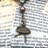 Ballerina Charm Antique Gold Necklace
