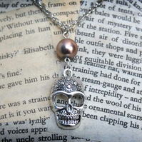 Silver Skull Charm Bead Necklace