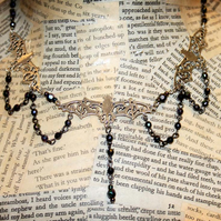 Victorian Gothic Halloween Vampire Bat Necklace