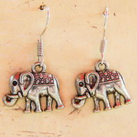 Antique Silver Boho Elephant Charm Dangle Earrings