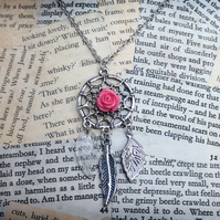 SALE Dreamcatcher Rose Feather Leaf Charm Necklace