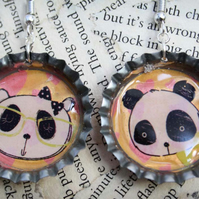 Cartoon Panda Bear Bottle Cap Hook Dangle Silver Earrings
