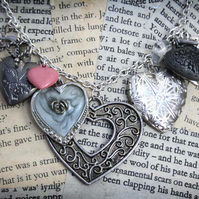Heart Charm Locket Silver Necklace