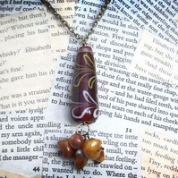 Red and Amber Glass Bead Boho Necklace