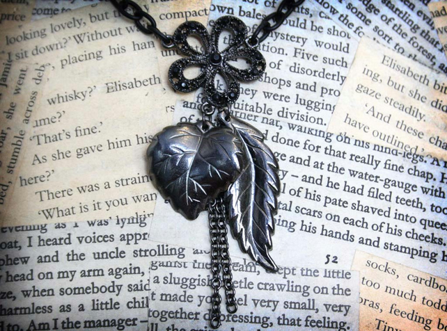 Flower Feather and Leaf Charm Black Gothic Necklace