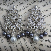 Silver Stud Pearl Chandelier Earrings