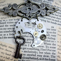 Steampunk Vintage Key Statement Necklace