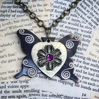 SALE Butterfly Heart Flower Necklace