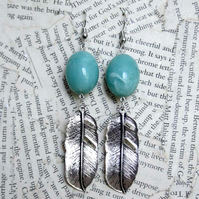 Silver Feather Charm Turquoise Bead Dangle Hook Earrings