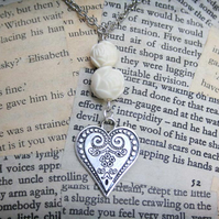 Silver Embossed Heart Charm Rose Bead Silver Necklace