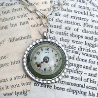 Steampunk Resin Dome Vintage Watch Face Pendant Necklace