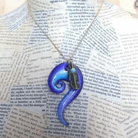 SALE Blue Glass Swirl Gold Feather Charm Necklace