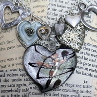 Heart Charm Locket Statement Silver Necklace