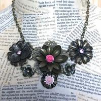 SALE Rose Flower Statement Summer Necklace