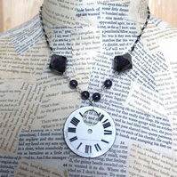 SALE Vintage Steampunk Watch Face Beaded Necklace