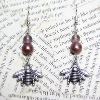 Silver Bee Charm Pink Bead Dangle Hook Earrings
