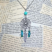Dreamcatcher Feather Charm Turquoise Silver Necklace