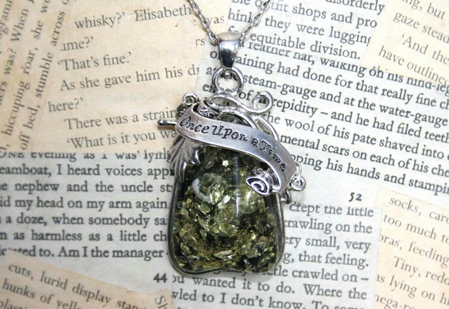 Once Upon A Time Fairy Tale Faux Green Amber Silver Pendant Necklace