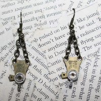 Steampunk Vintage Pocket Watch Regulator Dangle Hook Earrings