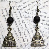 SALE Vatican Antique Gold Charm Black Bead Dangle Hook Earrings