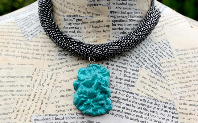 Turquoise Stone Dragon Scale Statement Necklace