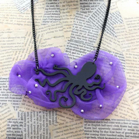 Black Octopus Purple Fabric Textile Pearl Bead Statement Necklace