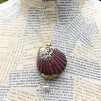 Gold Seashell Locket Pearl Bead Statement Necklace