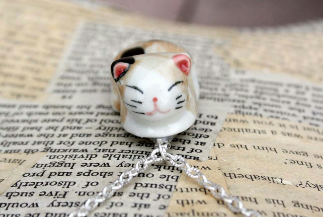 Sleeping Cat 3D Cat Statement Necklace