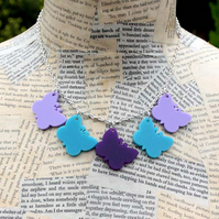 Purple Butterfly Turquoise Butterfly Silver Necklace