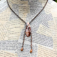 Butterfly Amber Bead Teardrop Necklace