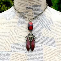 Cicada Beetle Red Bead Statement Necklace