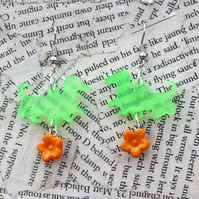 Dachshund Dog Neon Green Orange Flower Charm Hook Dangle Earrings