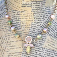 Pastel Pink Green Gold Acrylic Flower 80s Inspired Necklace
