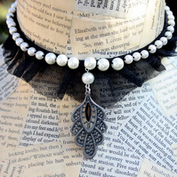 Gothic Black Tulle Pearl Bead Choker