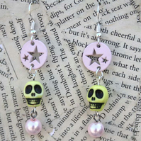 Pastel Goth Yellow Skull Star Celestial Mystic Earrings