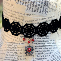 Halloween Red Spider Tarantula Cobweb Web Choker Necklace