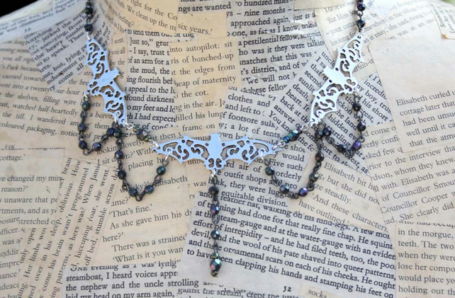 Gothic Vampire Bat Beaded Halloween Necklace