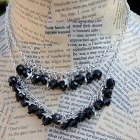 Silver Star Black Bead Double Chain Necklace