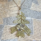 Gold Autumn Leaf Steampunk Pearl Bead Necklace