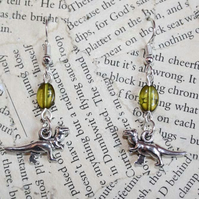 Silver Dinosaur T Rex Charm Green Bead Earrings