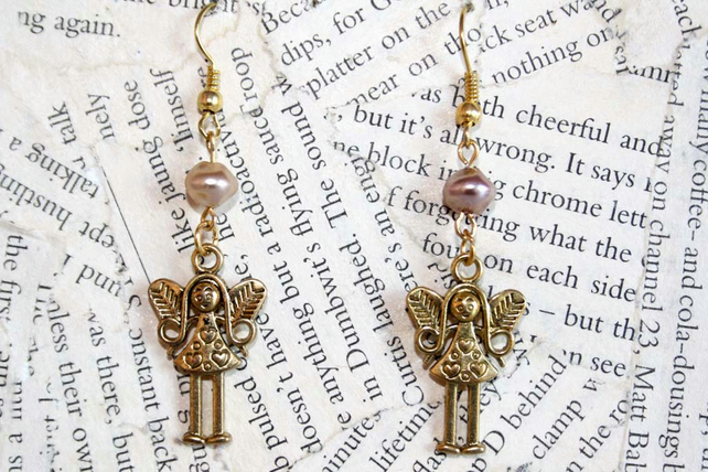 Gold Angel Fairy Charm Pink Bead Earrings
