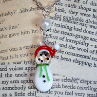 Glass Snowman Pearl Bead Silver Necklace